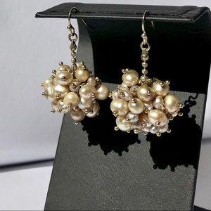 COLDWATER CREEK pearl cluster drop earrings NWT